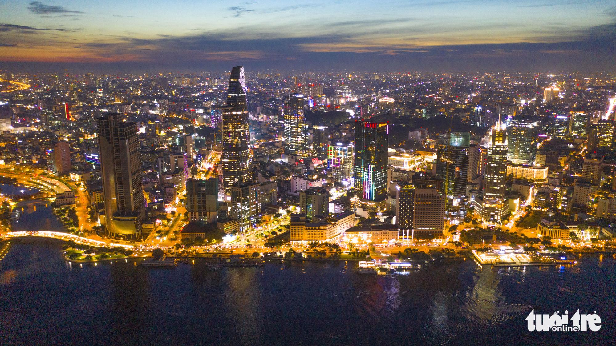 The Saigon One Tower is pictured with other skyscrapers in downtown Ho Chi Minh City. Photo: Quang Dinh / Tuoi Tre