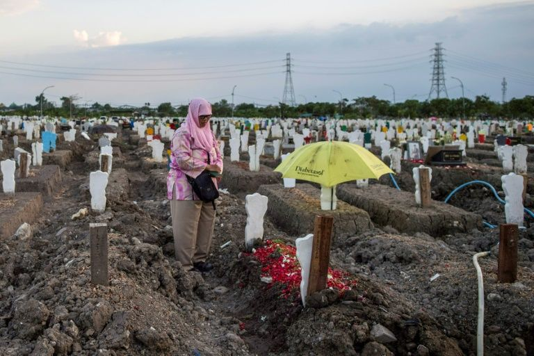 A woman visits her relative's grave at a burial site for victims of the COVID-19 coronavirus at Keputih cemetery in Surabaya, East Java on September 26, 2020. Photo: AFP
