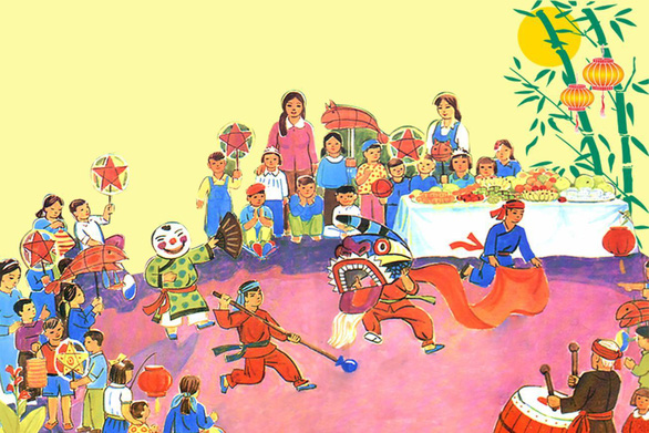 This cartoon shows kids enjoying lion dance during the Mid-Autumn Festival in Vietnam.