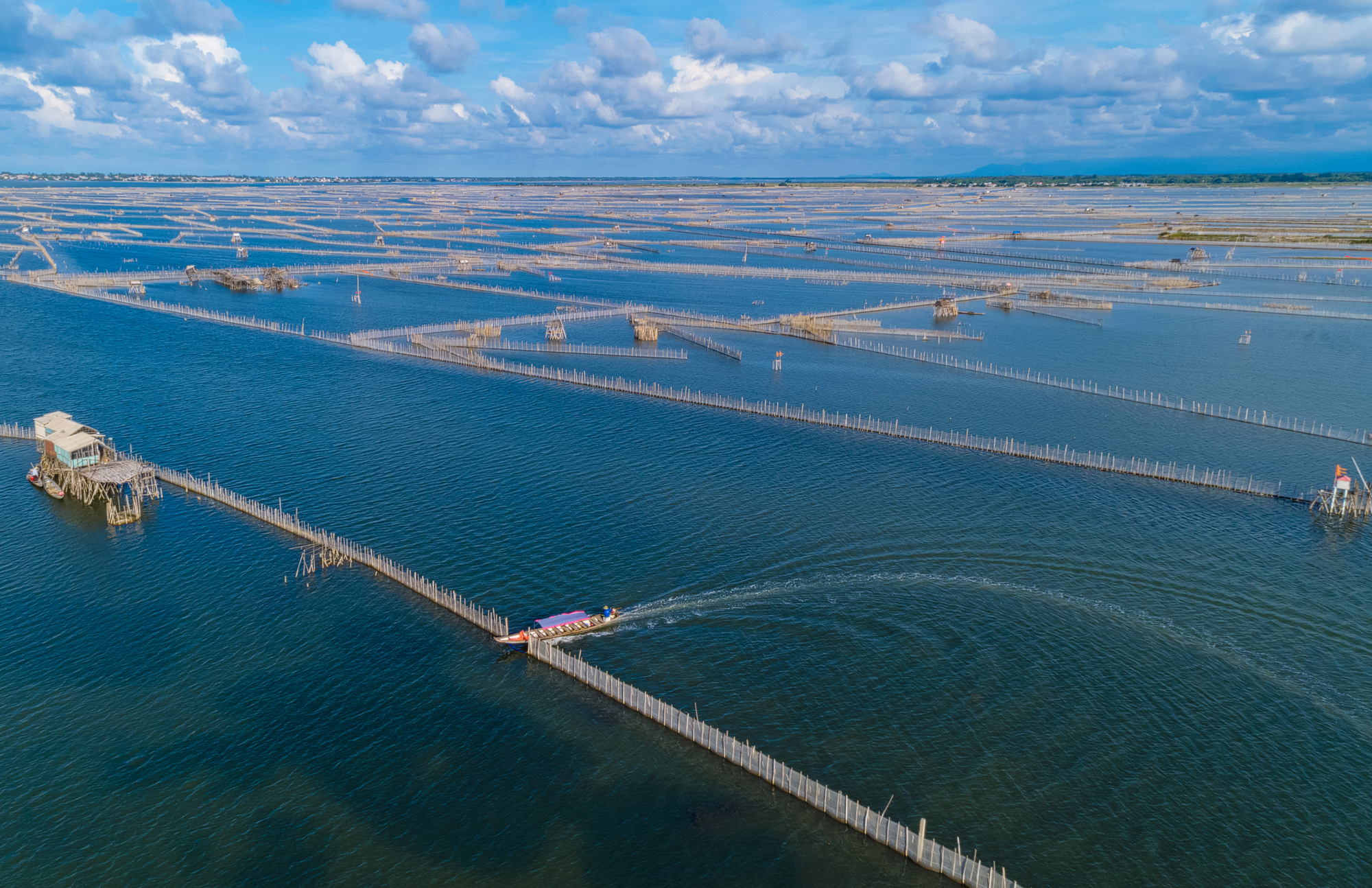 An aerial photo of the Tam Giang Lagoon and its network of fish pens in Thua Thien-Hue Province, Vietnam. Photo: Kelvin Long / Tuoi Tre