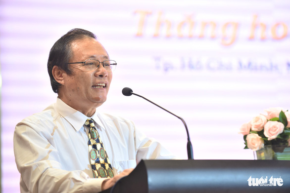Le Tan, vice chairman and general secretary of the Vietnam Culinary Culture Association, speaks at the 'Day of Pho' press conference in Ho Chi Minh City, September 30, 2020. Photo: Duyen Phan / Tuoi Tre