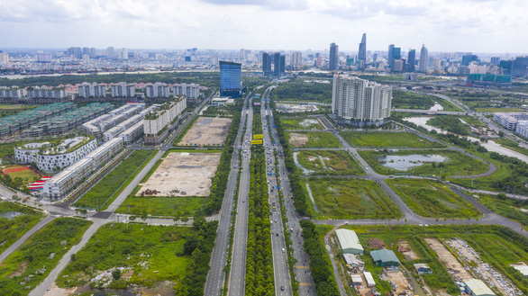 An aerial view of the Thu Thiem new urban area in District 2, Ho Chi Minh City. Photo: Quang Dinh / Tuoi Tre