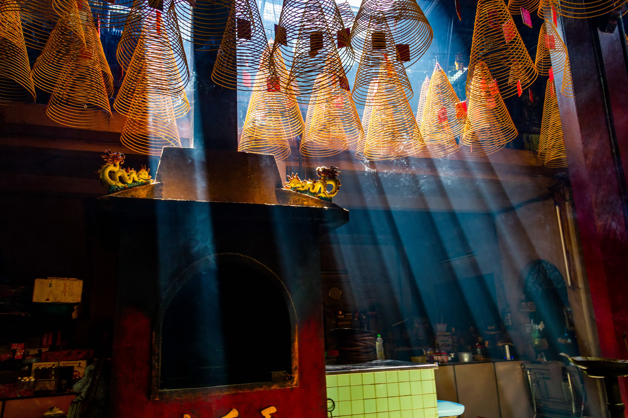 Light shines through coil incense inside the Chinese-style Thien Hau Temple, located on Nguyen Trai Street, District 5, Ho Chi Minh City, Vietnam. Photo: Tran Hong Ngoc / Tuoi Tre