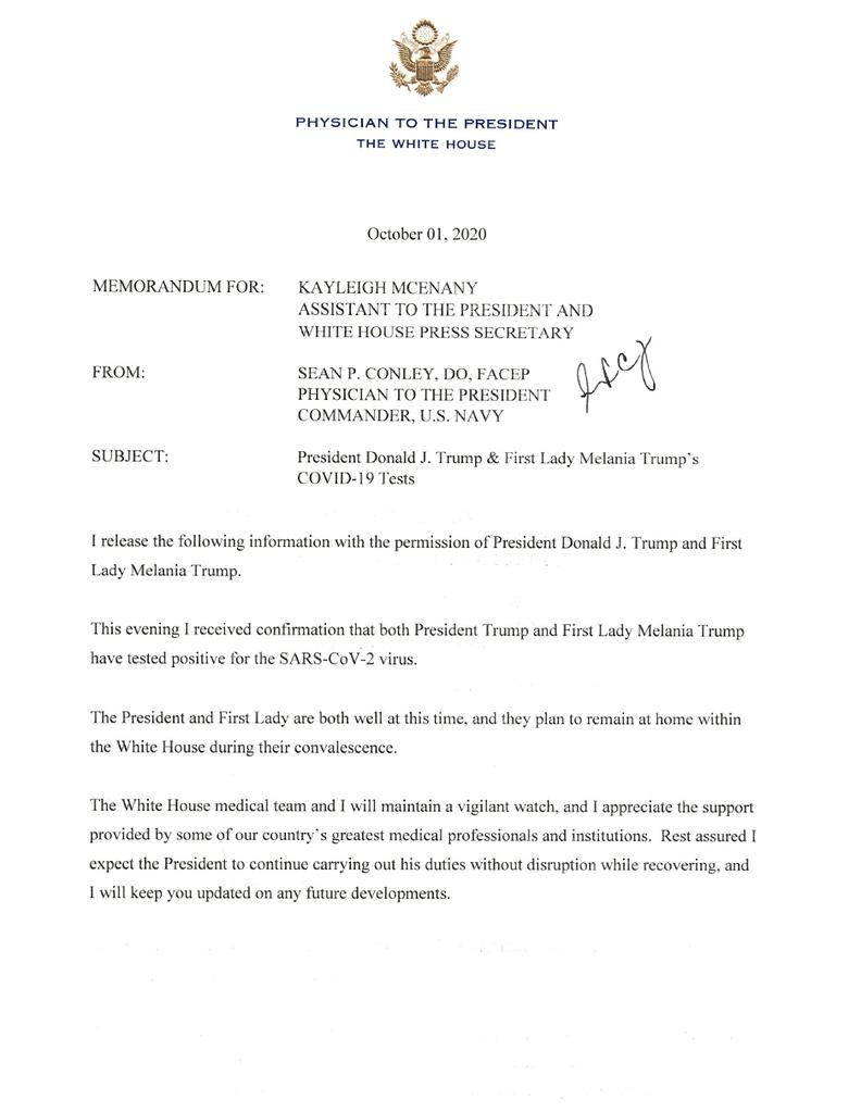 A letter from the White House physician, U.S. Navy Commander Sean Conley, announces that both U.S. President Donald Trump and first lady Melania Trump have tested positive for coronavirus disease (COVID-19) in Washington, U.S. October 2, 2020. The letter was released by the White House press office after midnight on October 2. The White House/Handout via Reuters
