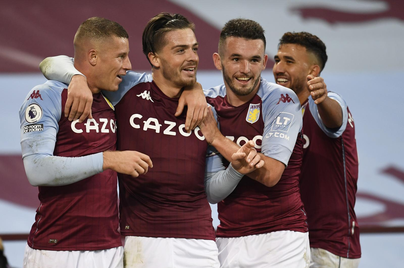 Aston Villa's Jack Grealish celebrates scoring their sixth goal with Ross Barkley, John McGinn and Trezeguet - Premier League - Aston Villa v Liverpool - Villa Park, Birmingham, Britain - October 4, 2020. Photo: Reuters