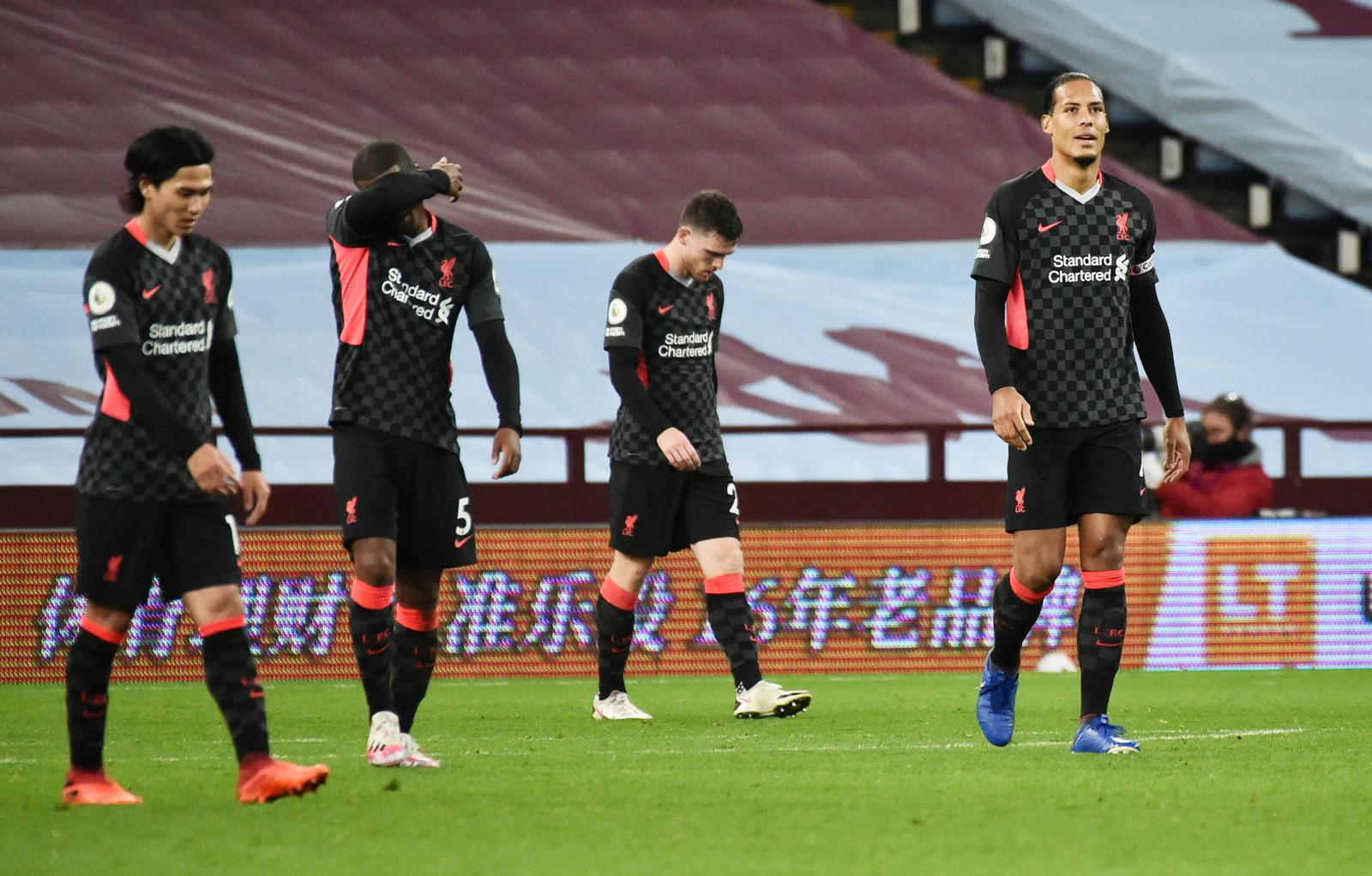 Liverpool's Virgil van Dijk and teammates look dejected after conceding their sixth goal - Premier League - Aston Villa v Liverpool - Villa Park, Birmingham, Britain - October 4, 2020. Photo: Reuters