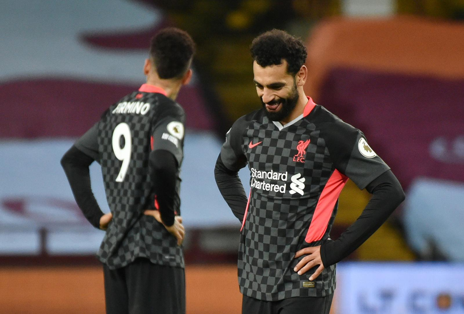 Liverpool's Mohamed Salah reacts after conceding their sixth goal - Premier League - Aston Villa v Liverpool - Villa Park, Birmingham, Britain - October 4, 2020. Photo: Reuters