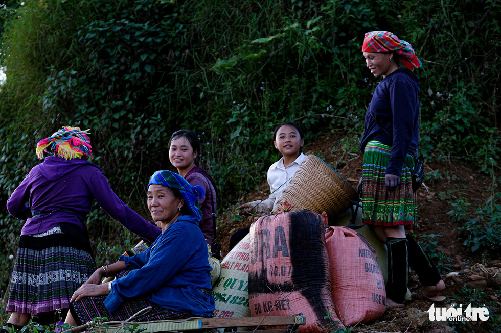 Hmong women rest next to their grain bags after the harvest. Photo: Nam Tran / Tuoi Tre