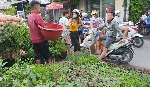 A shop selling vegetable planting utensils run by Diem Vy in Binh Tan District, Ho Chi Minh City has still been bustling with customers since Vietnam was hit by the novel coronavirus (COVID-19) in late January 2020. Photo: Manh Dung/ Tuoi Tre