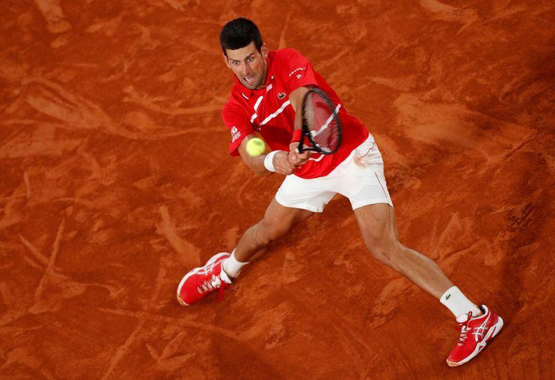 Serbia's Novak Djokovic in action during his semi final match against Greece's Stefanos Tsitsipas, Roland Garros, Paris, France, Oct 9, 2020. Photo: Reuters
