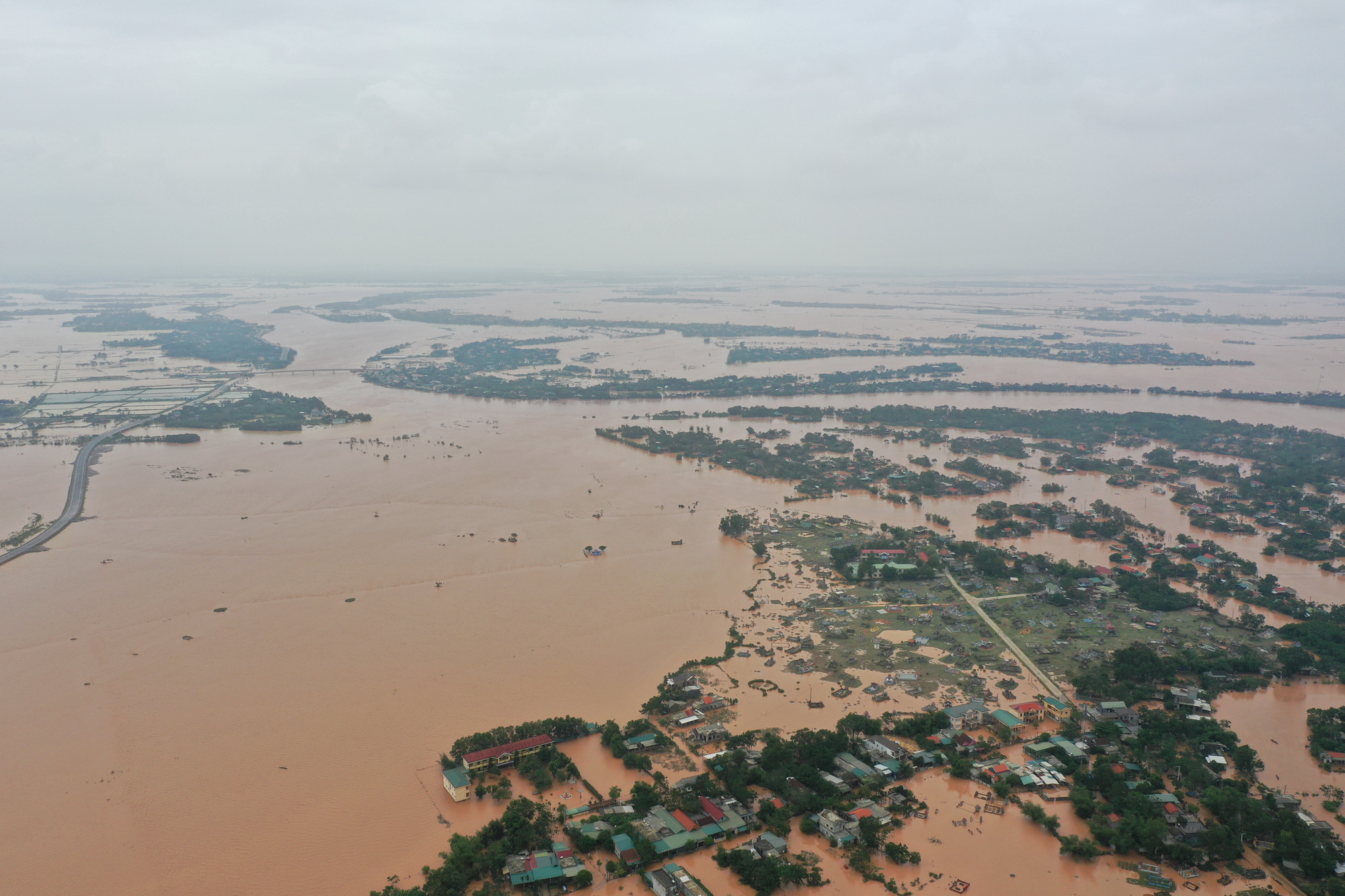 Historic flooding submerges villages in central Vietnamese province