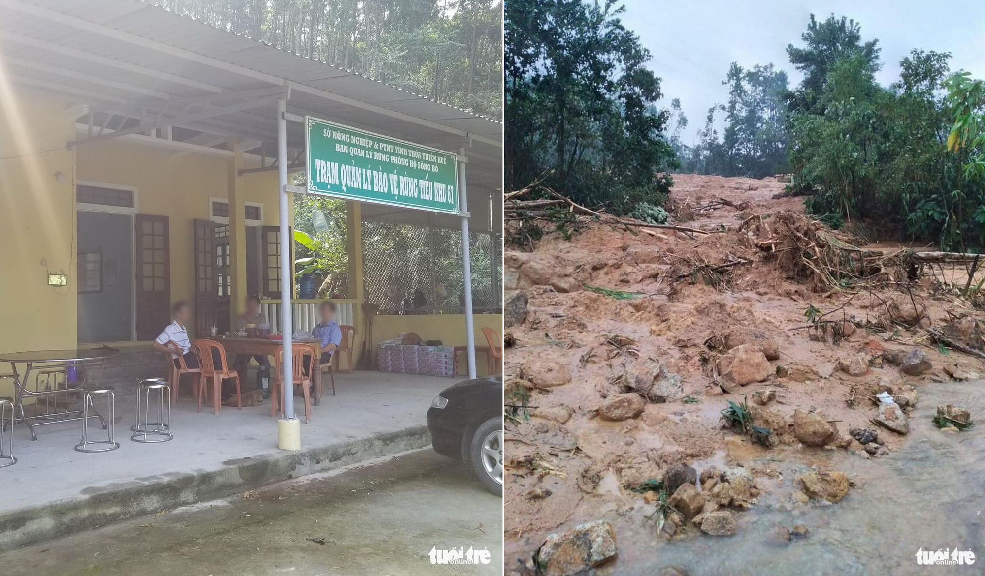 Photos taken at the Bo River forest protection station in Thien-Hue Province before and after a landslide occurred on October 12, 2020. Photo: Tuoi Tre Contributor