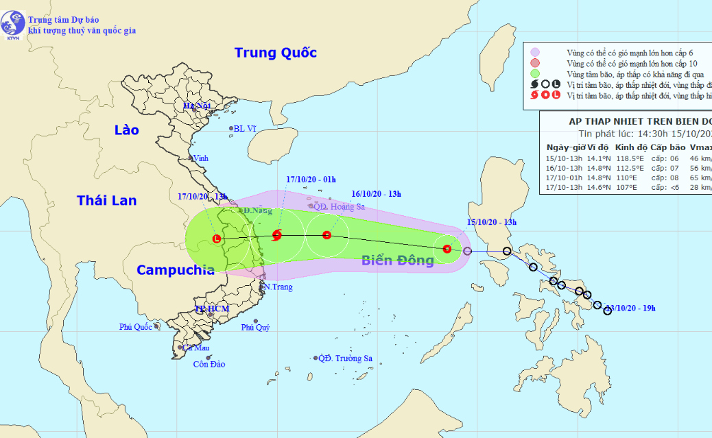 Another tropical depression enters East Vietnam Sea, threatens central provinces