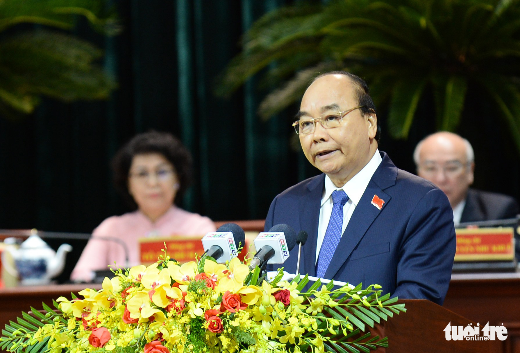 Prime Minister Nguyen Xuan Phuc speaks at the Ho Chi Minh City's 11th Party Congress on October 15, 2020. Photo: Tu Trung / Tuoi Tre