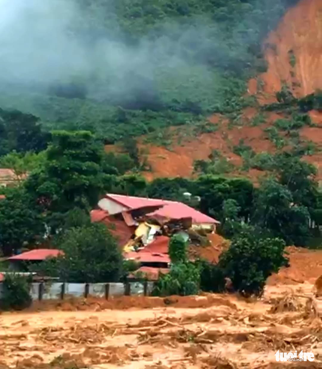 The military station is picture following the landslide in Quang Tri Province, Vietnam, October 18, 2020. Photo: Tuoi Tre Contributor