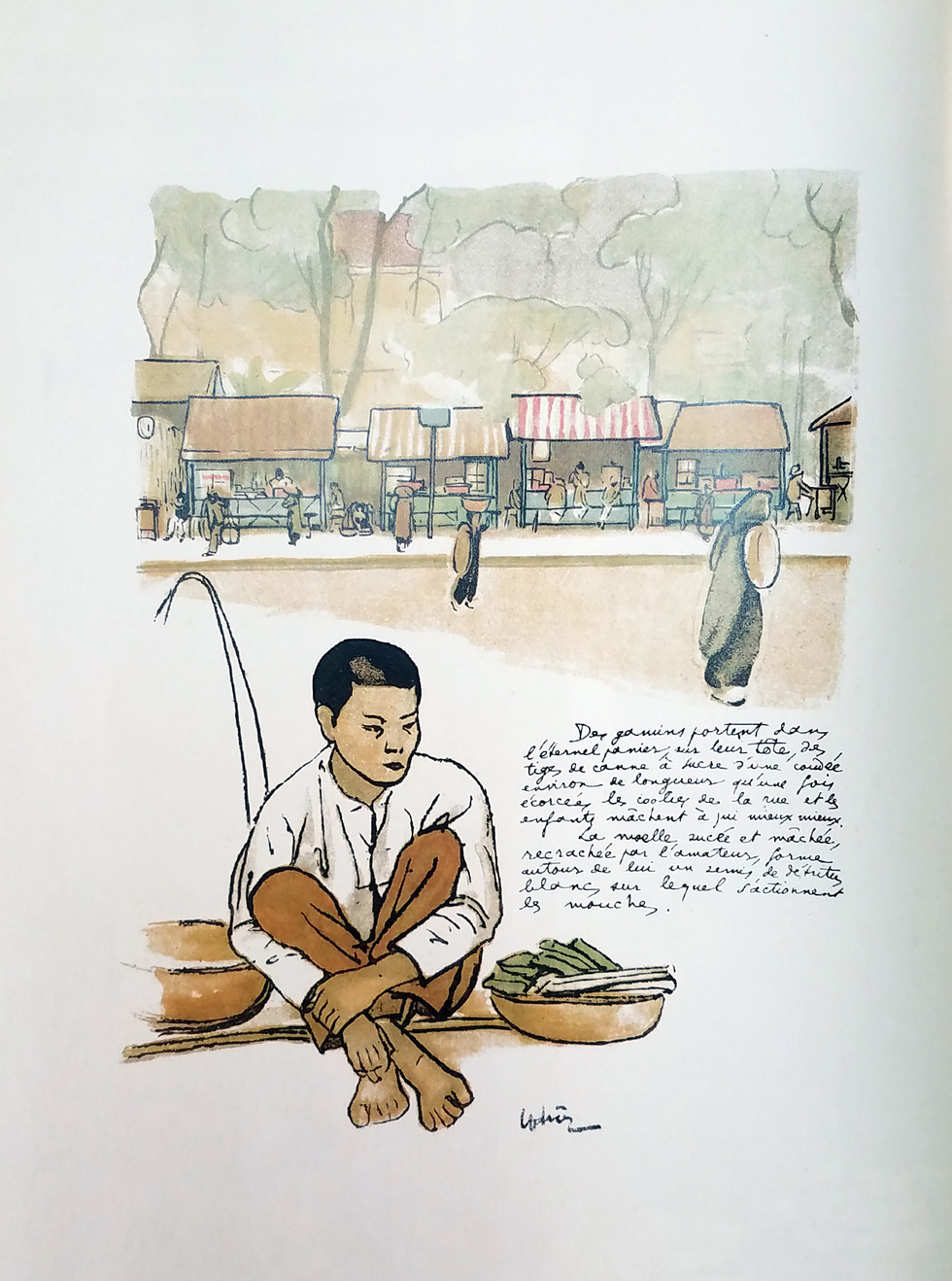 A boy peddling sugarcane cubes is portrayed in a drawing.