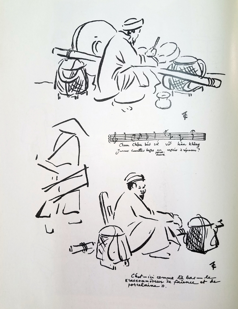 A peddler's cry reveals that he is a household utensil fixer, with the trade rarely practiced in modern Hanoi, Vietnam.