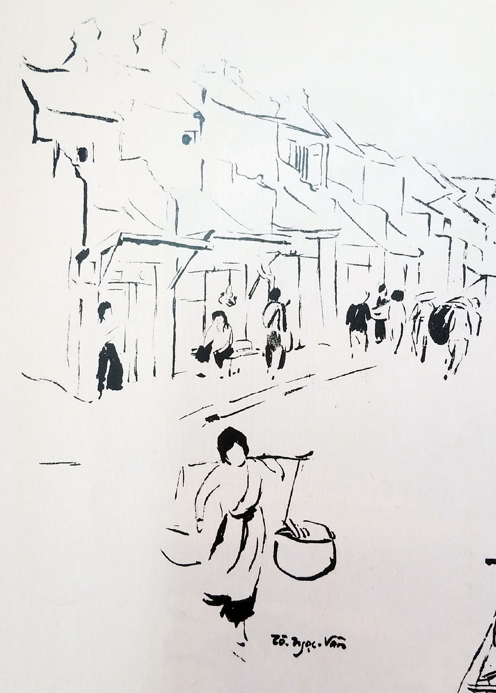 A drawing from the art book bears the autograph of To Ngoc Van, one of Vietnam's prominent artists. Photo: Lam Dien / Tuoi Tre