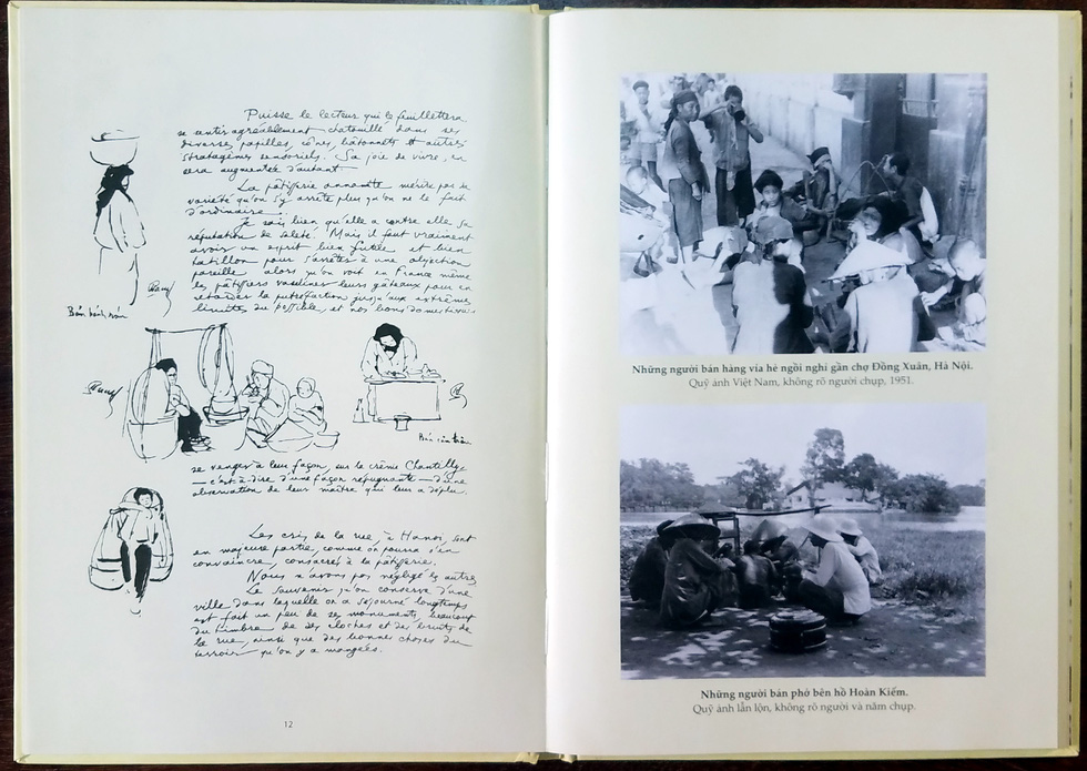 The book features prized sketches and drawings alongside archival photos, most of which depict peddlers in the early-20th-century Hanoi, Vietnam. Photo: Lam Dien / Tuoi Tre