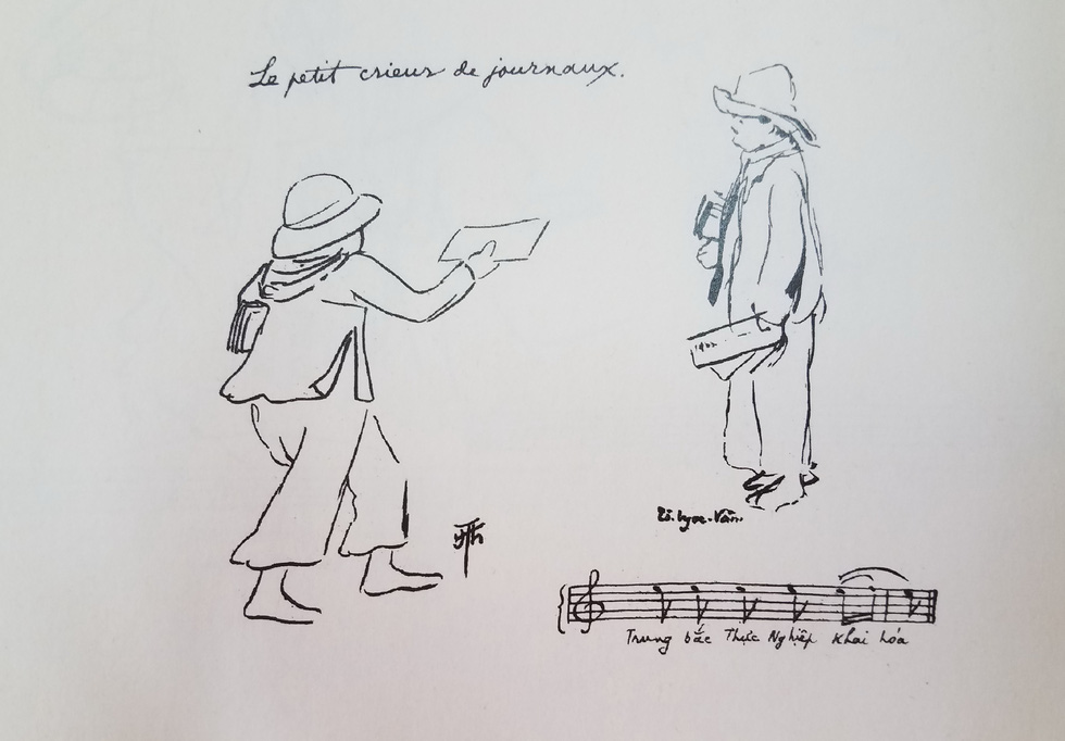 A drawing depicts a newsboy, with the musical notation of his cries revealing three contemporary newspapers: Trung Bac (Northern and Central Vietnam), Thuc Nghiep [Dan Bao] (People's Newspaper), and Khai Hoa (Enlightenment).  Photo: Lam Dien / Tuoi Tre