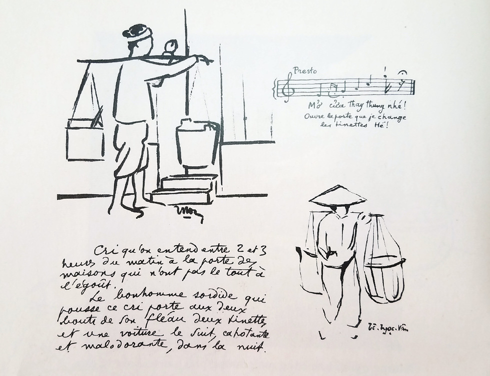 A drawing features the older version of today's sanitation workers urging local residents to empty their trash bins in the early-20th-century Hanoi, Vietnam. Photo: Lam Dien / Tuoi Tre