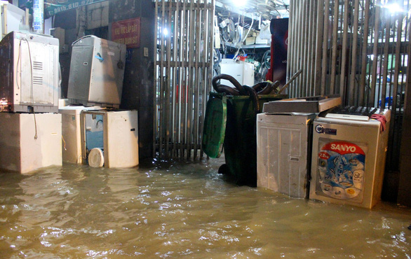 A house in flooded in this photo taken in Ho Chi Minh City. Photo: Kim Ut / Tuoi Tre