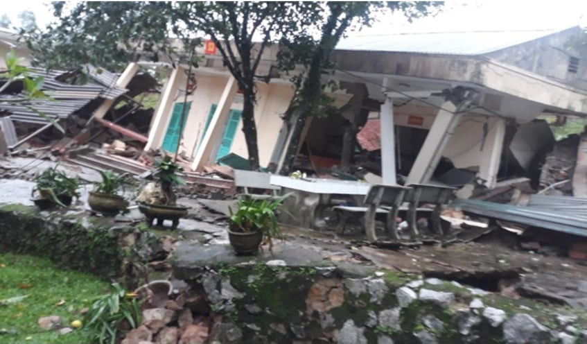 Houses at the Cha Lo Border Guard Station in Quang Binh Province, Vietnam are destroyed after two landslides on October 19, 2020. Photo: Hoai Nam / Tuoi Tre