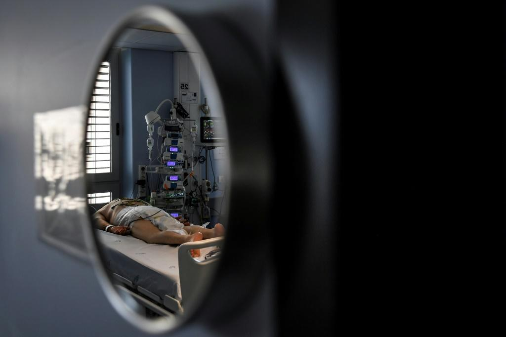 A patient in a coronavirus intensive care unit at the Sao Joao Hospital in Portugal's Porto. Photo: AFP