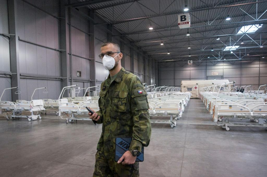 The Czech army has set up a field hospital in Prague . Photo: AFP