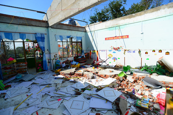 A classroom with roof blown away by Typhoon Molave is seen in this photo