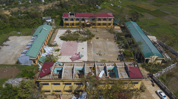 A school in Quang Ngai Province is seen devastated by Typhoon Molave
