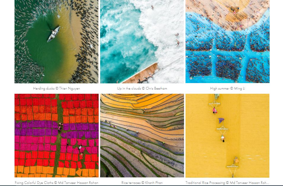 A screenshot of the 2020 Aerial Photography Awards shows Vietnamese entries honored as Special Mentions for the People category's Daily Life topic