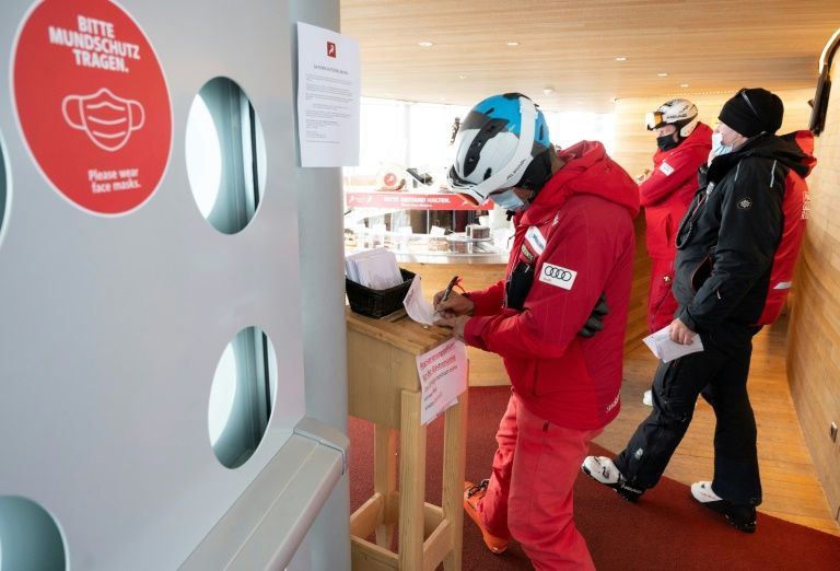Skiers are filling out covid-19 form as they enter restaurant Cafe 3340 at Pitztal glacier, Austria on October 29, 2020. Photo: AFP