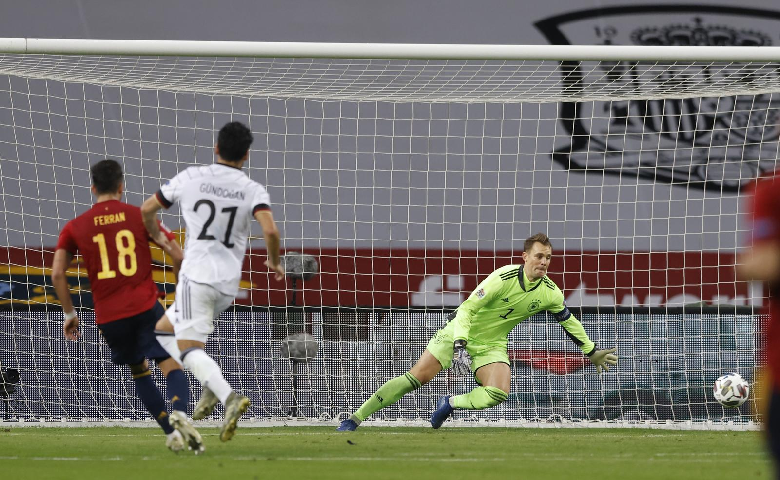 UEFA Nations League - Group D - Spain v Germany - Estadio La Cartuja, Seville, Spain - November 17, 2020 Spain's Ferran Torres scores their fifth goal. Photo: Reuters