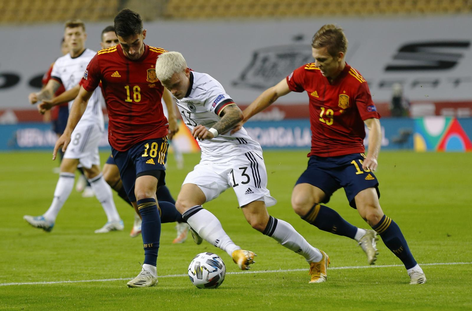UEFA Nations League - Group D - Spain v Germany - Estadio La Cartuja, Seville, Spain - November 17, 2020 Spain's Ferran Torres in action with Germany's Philipp Max. Photo: Reuters