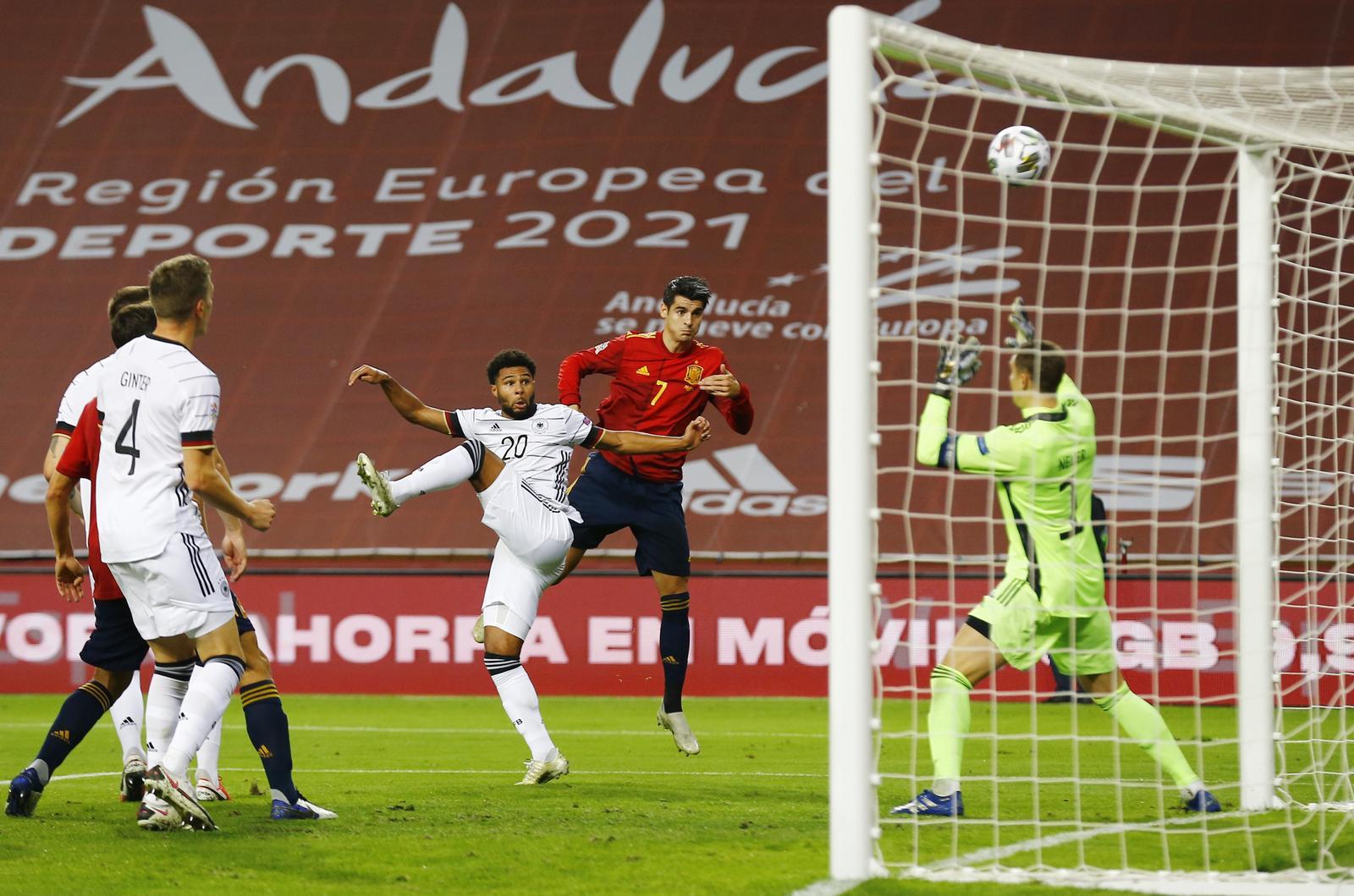 UEFA Nations League - Group D - Spain v Germany - Estadio La Cartuja, Seville, Spain - November 17, 2020 Spain's Alvaro Morata scores their first goal. Photo: Reuters