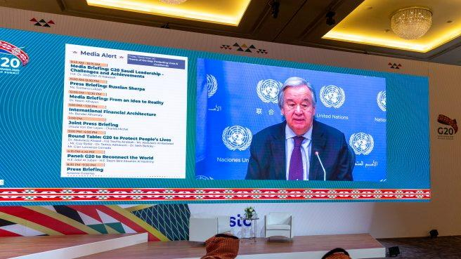 United Nation Secretary General, Antonio Guterres, conducts virtual press briefing from his office in New York ahead of the annual G20 Summit World Leaders to take place in Riyadh, Saudi Arabia, November 20, 2020. The Saudi G20 Presidency Media/Handout via Reuters