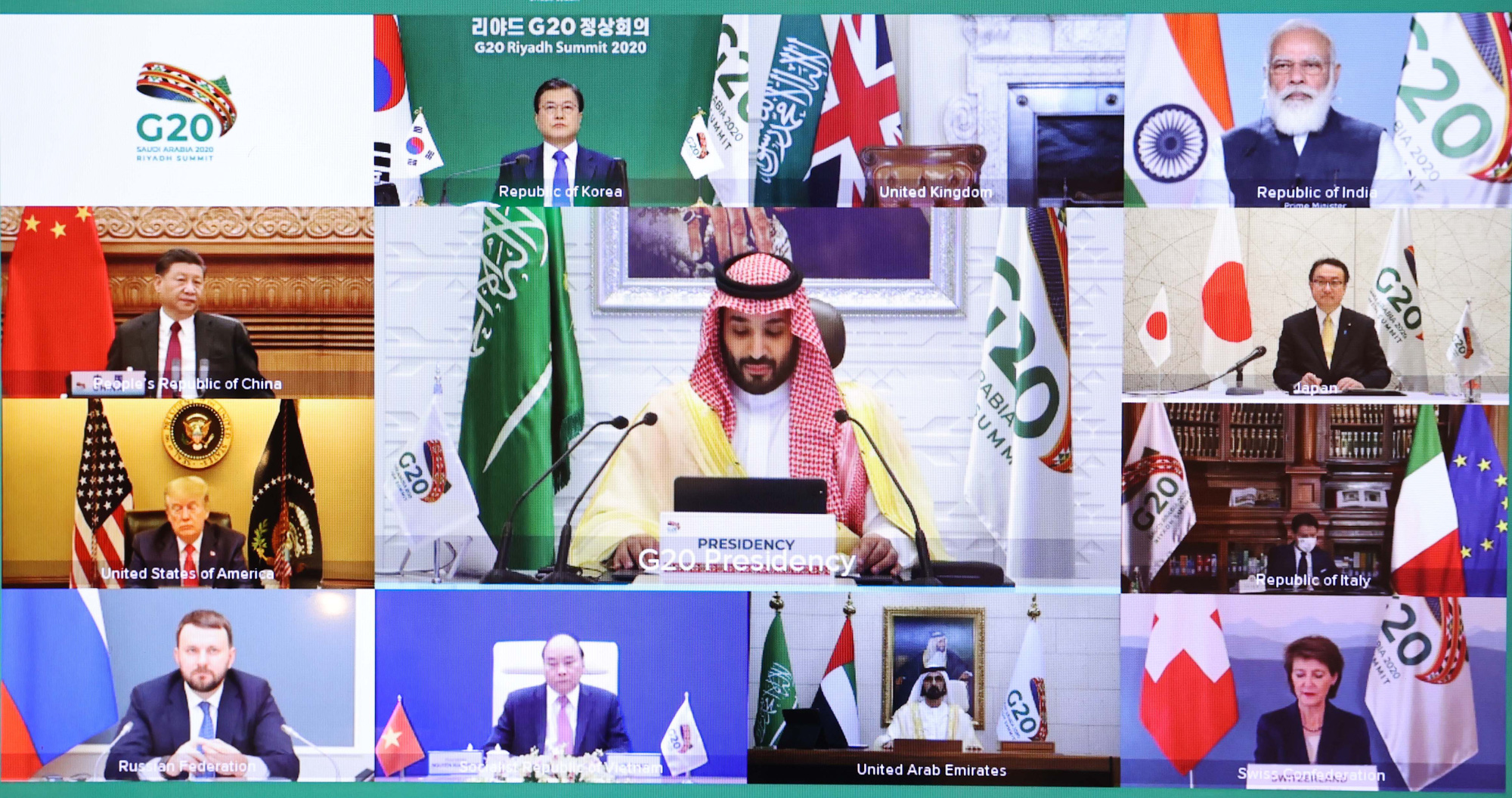 Leaders of G20 member countries attend the second session of the G20 Leaders' Summit on November 22, 2020. Photo: Ministry of Foreign Affairs