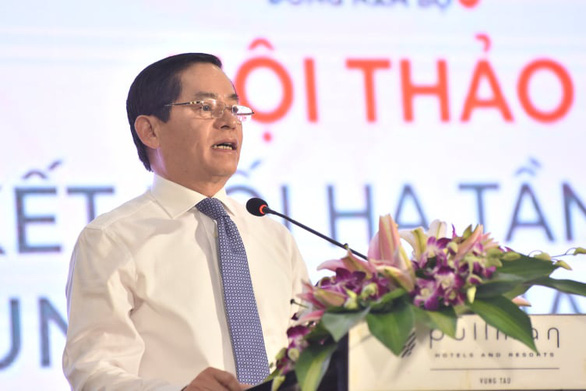 Pham Viet Thanh, secretary of the Ba Ria – Vung Tau Provincial Party Committee, speaks at the conference. Photo: Duyen Phan / Tuoi Tre