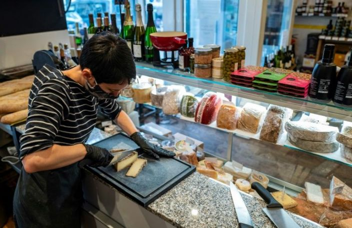 La Cantine d'Augusta has transformed from a restaurant into a cheese and meat counter selling delicacies imported from France to take away. Photo: AFP
