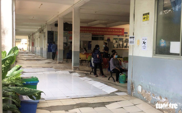 New and old tiles are peeling off at a building's corridor in the Ho Chi Minh Mental Health Hospital's branch on Le Minh Xuan Street in Binh Chanh District, Ho Chi Minh City.