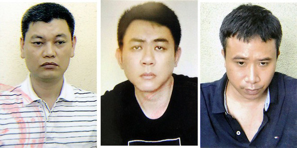 From left to right: Nguyen Anh Ngoc, Nguyen Hoang Trung and Pham Quang Dung are seen in photos supplied by the police