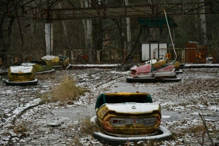 Pripyat, not far from the plant, is a ghost town -- its amusement park long abandoned. Photo: AFP