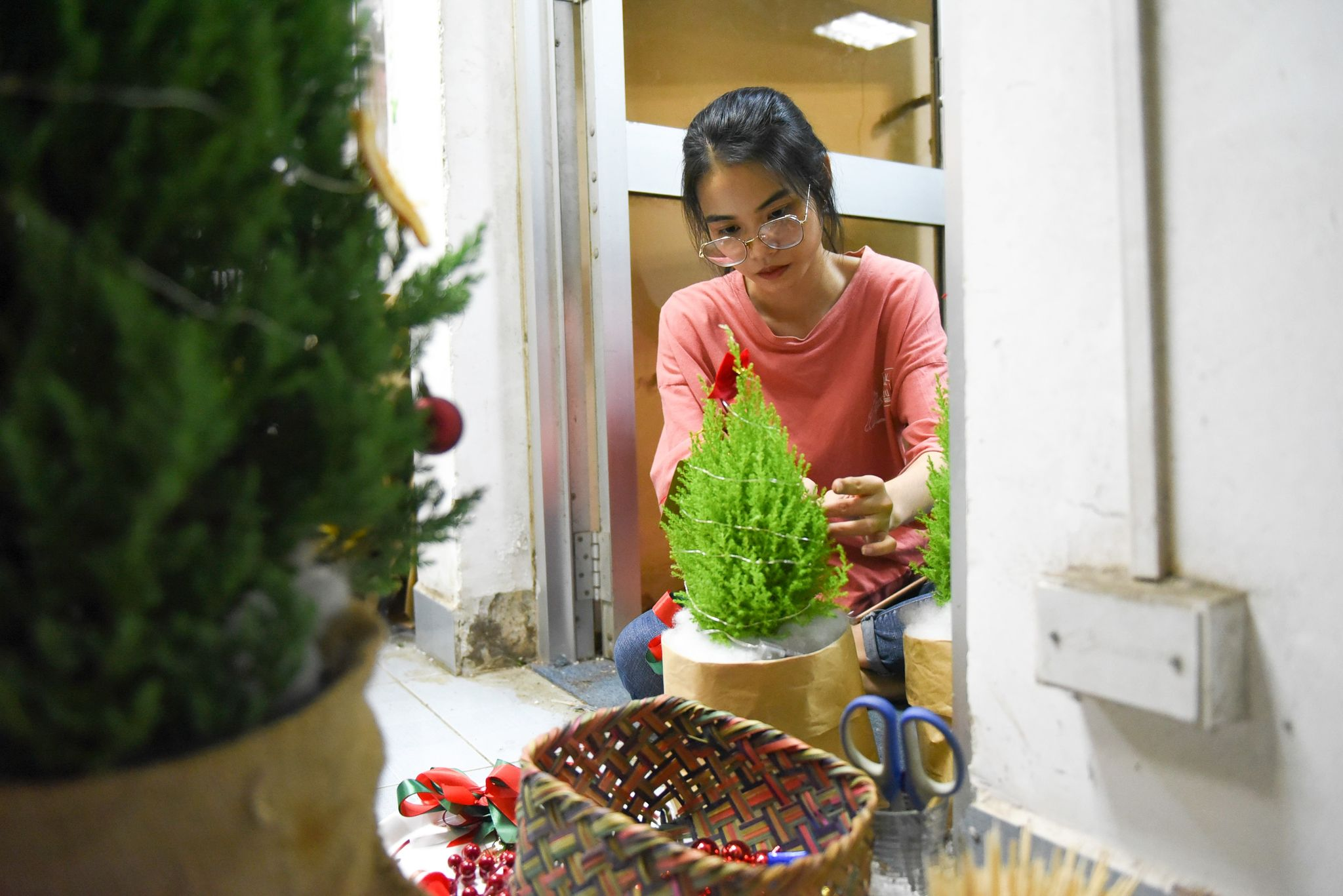 Staff Le Hong Nhien is decorating a lemon cypress at her flower shop in Ho Chi Minh City's District 3. Photo: Ngoc Phuong/ Tuoi Tre News