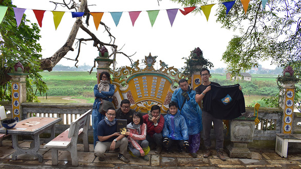This supplied photo shows Duoc Moi members going on a field trip to research the geographical contexts of the Tot Dong - Chuc Dong battle in Hanoi for the 'Binh Ngo dai chien' movie.