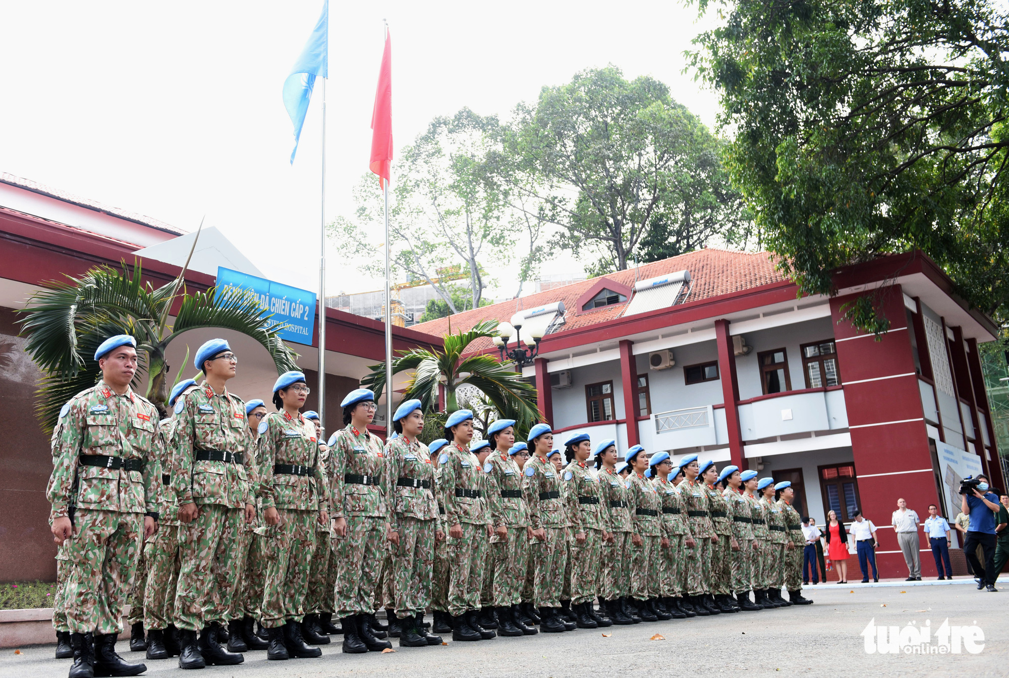 Staff members of Level-2 Field Hospital No.3 are pictured prior to their final training phase in Ho Chi Minh City, December 23, 2020. Photo: Duyen Phan / Tuoi Tre