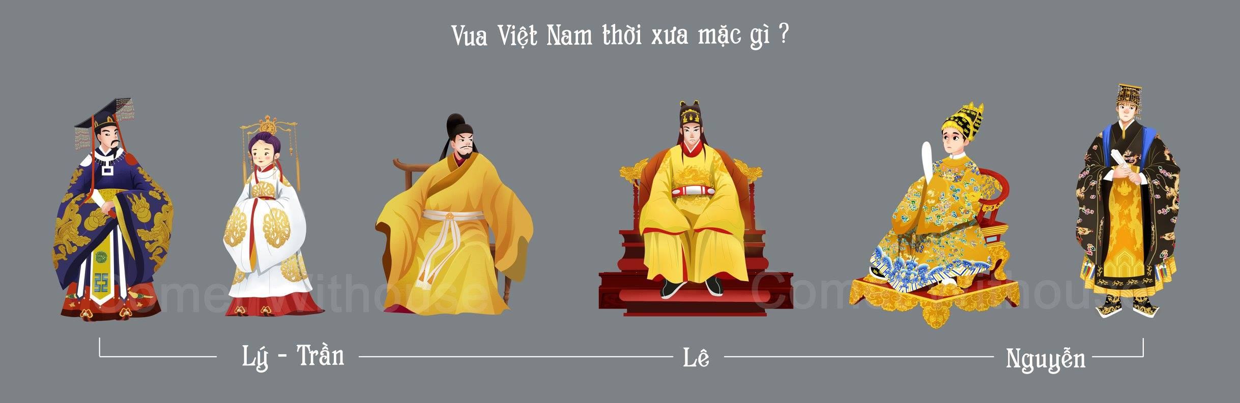 Six kings of Vietnam with their respective royal costumes drawn in Huyen's illustration style