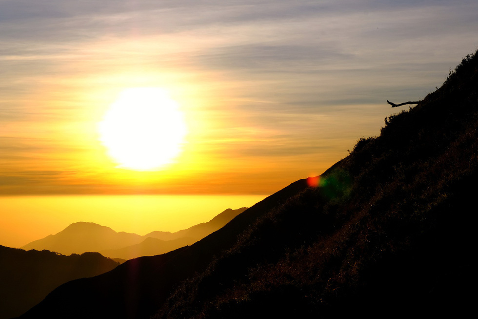 Sunset are seen on the route to Mount Ta Chi Nhu