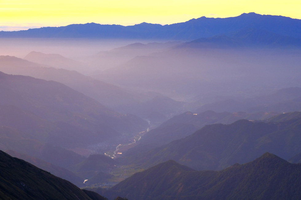The valley of Tram Tau District in Yen Bai Province is seen from Mount Ta Chi Nhu.