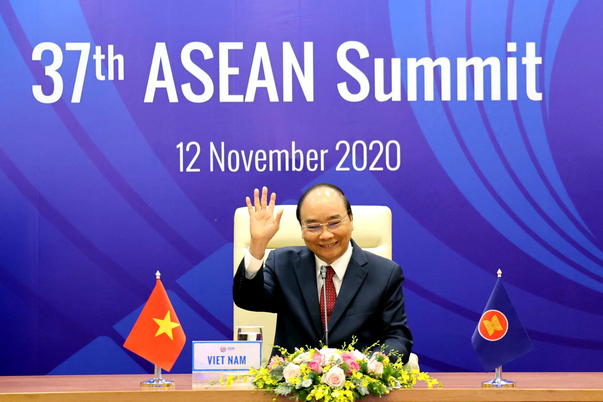 Vietnamese Prime Minister Nguyen Xuan Phuc is pictured at the 37th ASEAN Summit on November 12, 2020. Photo: Vietnam News Agency